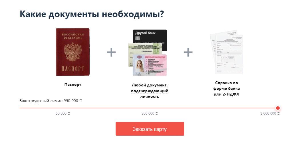 Пакет документов для кредитки