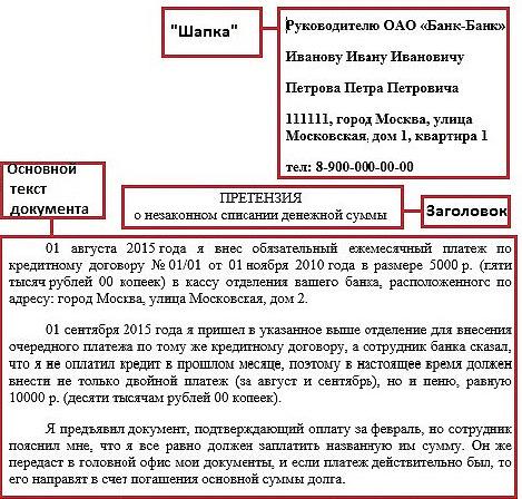 Образец претензии, связанной с платежами
